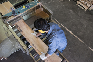 Man with gloves and hearing protectionputting a wood plank oの写真素材 [FYI04333813]