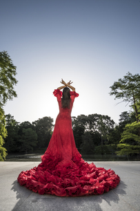 Back view of woman dressed in red dancing flamenco on a terrの写真素材 [FYI04333860]