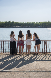 Back view of four friends standing at sunlight in front of wの写真素材 [FYI04333870]