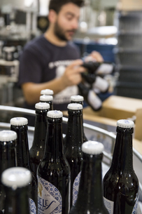 Man working in beer bottling plantの写真素材 [FYI04333910]
