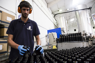 Man working in beer bottling plantの写真素材 [FYI04333912]