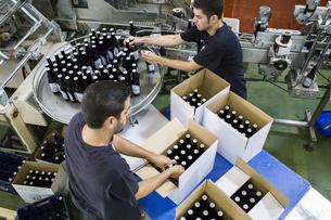 Men working in beer bottling plantの写真素材 [FYI04333915]