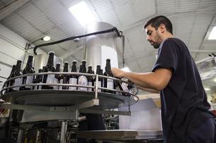 Man working in beer bottling plantの写真素材 [FYI04333918]