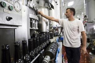 Man pressing button in beer bottling plantの写真素材 [FYI04333922]