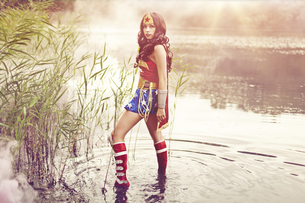 Woman wearing Super Hero costumeの写真素材 [FYI04334050]