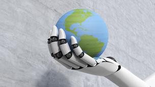 Robot holding globe, 3d renderingのイラスト素材 [FYI04334069]