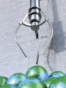 Grappling claw above globes, 3d renderingのイラスト素材 [FYI04334072]