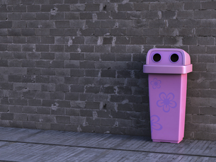 Pink dustbin with floral design, 3D Renderingのイラスト素材 [FYI04334086]