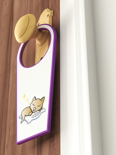 Tag with picture of sleeping cat hanging on doorknobのイラスト素材 [FYI04334087]