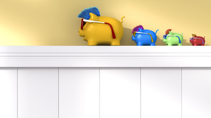 Row of four different lucky charm pigsのイラスト素材 [FYI04334089]