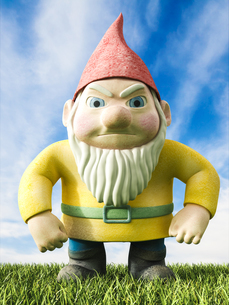 Angry garden gnome, 3D Renderingのイラスト素材 [FYI04334099]