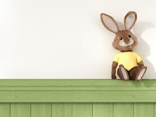 Toy bunny sitting on a shelfのイラスト素材 [FYI04334100]