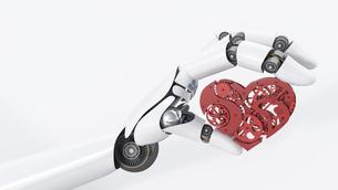 Robot hand holding cogwheel heartのイラスト素材 [FYI04334112]
