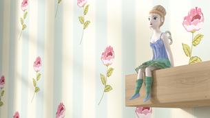 Toy doll sitting on shelf, 3D Renderingの写真素材 [FYI04334117]