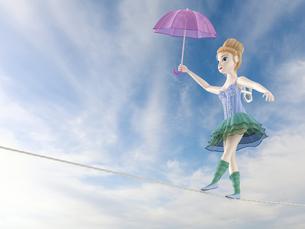 Toy doll, tightrope walker, 3D Renderingの写真素材 [FYI04334118]
