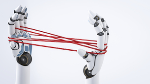 Robot hand holding red threads, 3D Renderingのイラスト素材 [FYI04334122]
