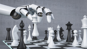 Robot hand playing chess, 3D Renderingのイラスト素材 [FYI04334124]