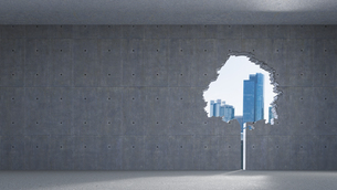 3D Rendering, Window in tree-shape, concrete wall, high-riseのイラスト素材 [FYI04334125]