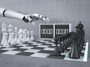 Robot hand, playing chess, starting, clock, 3D Renderingのイラスト素材 [FYI04334126]