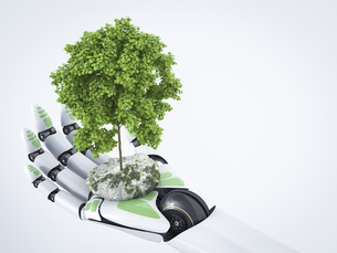 3D Rendering, robot hand holding treeのイラスト素材 [FYI04334127]