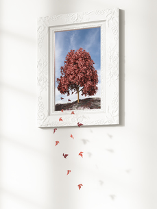 Leaves falling from tree in picture frame, 3d renderingのイラスト素材 [FYI04334129]