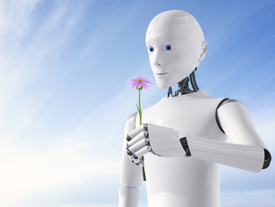 3D Rendering, Roboter holding flowerのイラスト素材 [FYI04334134]