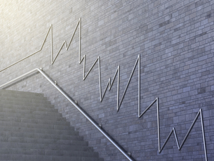 Line chart on wall, 3d renderingのイラスト素材 [FYI04334136]