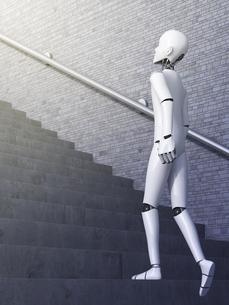 Robot walking upstairs, 3d renderingのイラスト素材 [FYI04334137]