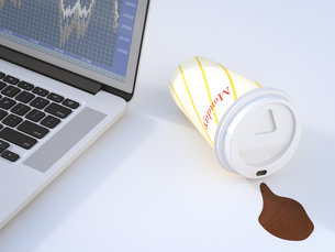 Fallen coffee to go cup, laptop, 3D Renderingのイラスト素材 [FYI04334139]