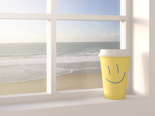 Coffee to go cup on window sill, beach in the background, 3Dのイラスト素材 [FYI04334141]