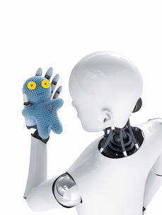 Robot looking at doll, 3d renderingのイラスト素材 [FYI04334143]