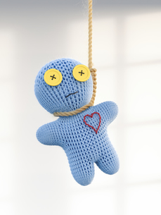 Voodoo doll hanging on rope, 3d renderingのイラスト素材 [FYI04334144]