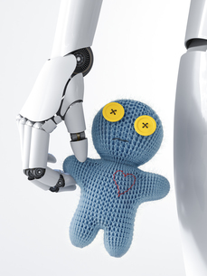 Robot holding doll, 3d renderingのイラスト素材 [FYI04334149]