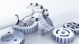 Robot hand reaching for cogwheelsのイラスト素材 [FYI04334151]