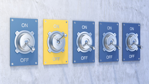 Different flip switches, on, off,のイラスト素材 [FYI04334158]