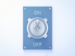Blue flip switch, on, off, 3D Renderingのイラスト素材 [FYI04334159]