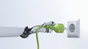 Robot hand with green plug, plug socket, 3D Renderingのイラスト素材 [FYI04334161]
