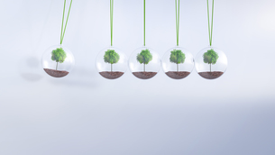 Newton's cradle with trees, 3D Renderingのイラスト素材 [FYI04334164]