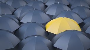 Yellow umbrella in between many black umbrellasのイラスト素材 [FYI04334165]