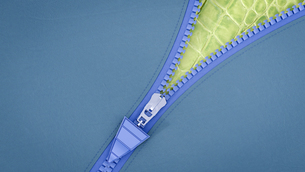 Opened zip, 3D Renderingのイラスト素材 [FYI04334168]