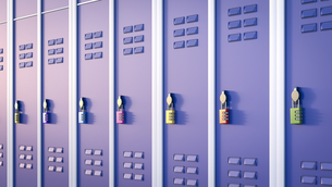 Lockers with combination lock, 3D Renderingのイラスト素材 [FYI04334170]