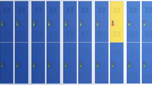 Yellow locker between rows of blue lockers, 3D Renderingのイラスト素材 [FYI04334174]