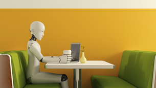 Robot with laptop in cafe, 3D Renderingのイラスト素材 [FYI04334175]