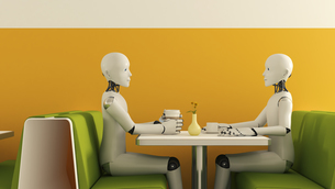 Robots in cafe, 3D Renderingのイラスト素材 [FYI04334176]