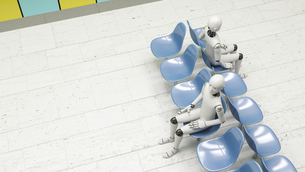 Robots sitting in waiting areaのイラスト素材 [FYI04334177]