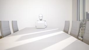 Robot in office, using laptop, 3D Renderingのイラスト素材 [FYI04334180]