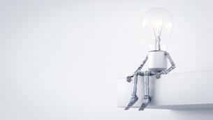 Electric bulb manikin sitting on ledgeのイラスト素材 [FYI04334181]
