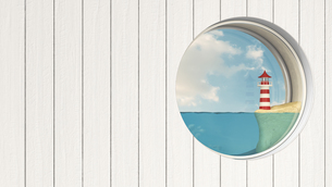 Porthole in wooden wall with lighthouse at sea shoreのイラスト素材 [FYI04334182]