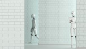 Walking robot and standing robot, 3D Renderingのイラスト素材 [FYI04334191]