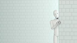 Peeking robot, 3D Renderingのイラスト素材 [FYI04334192]